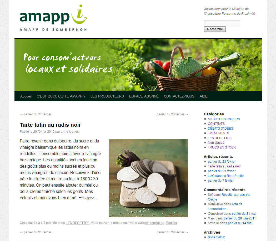 Blog Amap de Sombernon en Côte d'Or